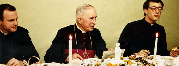 (L to R) Father Donald Sanborn, His Grace, Archbishop Marcel Lefebvre, Father Anthony Cekada. Circa 1982.