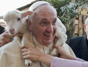 Lamb sits around neck of Pope Francis during visit to Nativity scene at Rome church