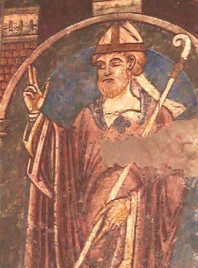 12th century wall-painting of St. Cuthbert